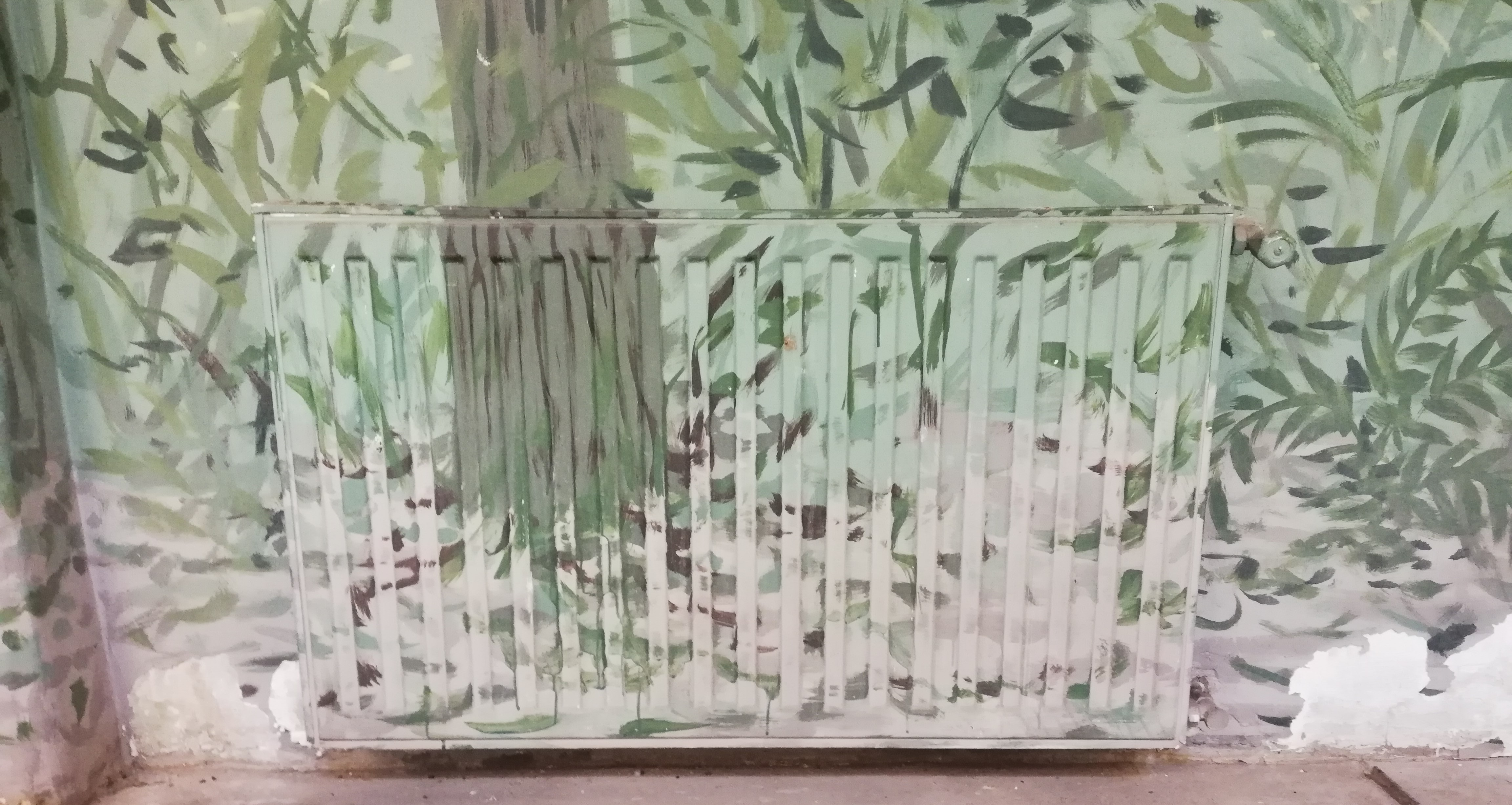 Bambuszrudak a radiátorok előtt.